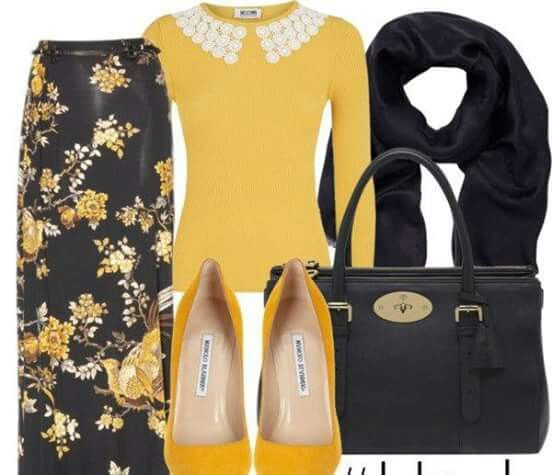 Yellow and black outfit. Hijab Chic fb