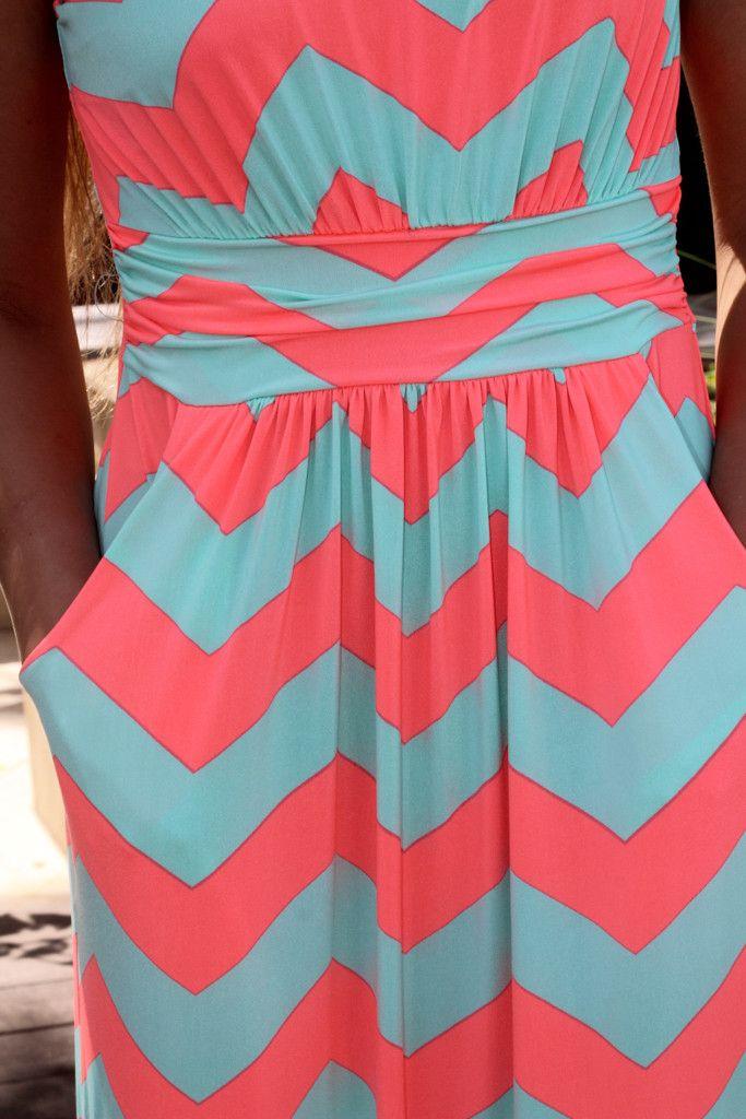 Neon Coral And Aqua Chevron Maxi Dress With Pockets