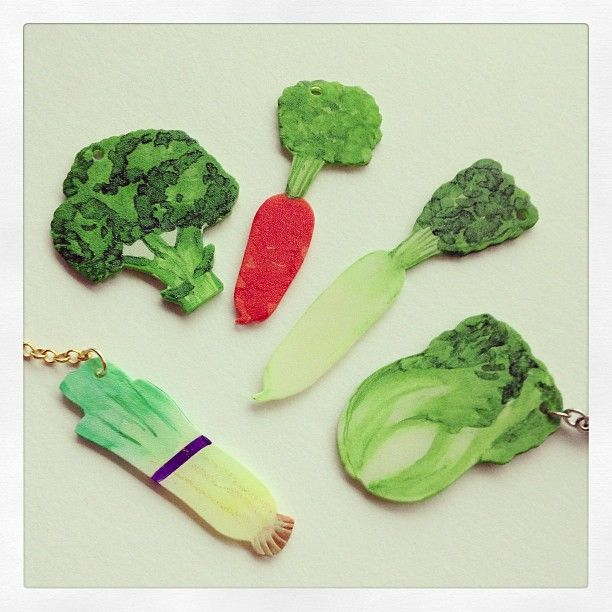 プラ板野菜チャーム #shrinkplastic #handmade #vegetables #プラ板