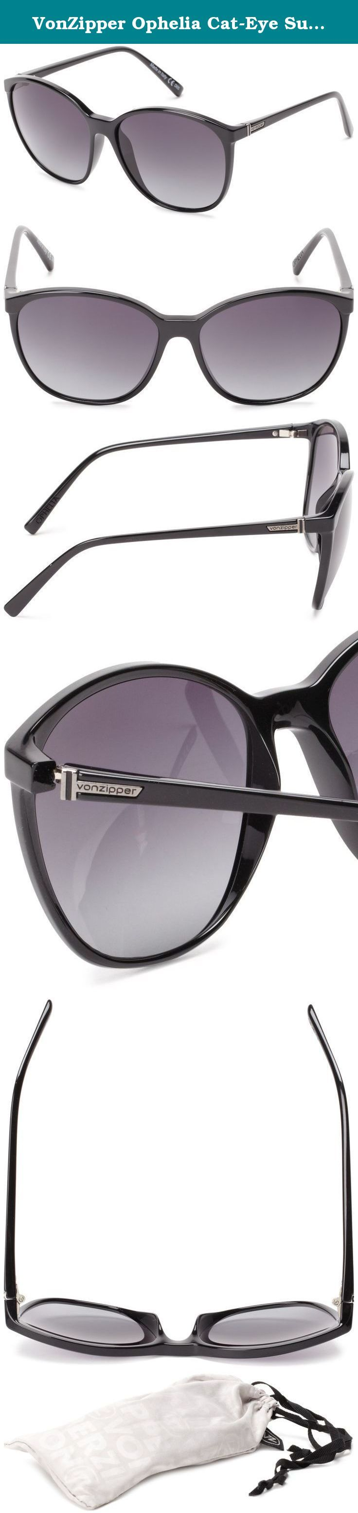 VonZipper Ophelia Cat-Eye Sunglasses,Black Gloss,One Size. Make every summer a Summer of Love in the '60s-inspired Von Zipper Ophelia Women's Sunglasses. The rounded Grilamid frame gives them a retro look, while shatter-resistant polycarbonate lenses provide durability so that the Ophelia stands the test of time physically as well as style-wise.