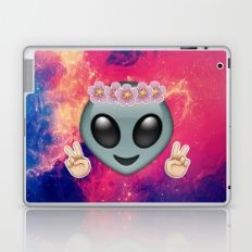 Alien Hippie Emoji Laptop & iPad Skin