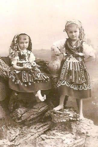 Portuguese Infantas Maria Benedita and Isabel Maria in traditional costumes