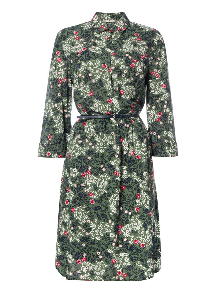 Designed with a pretty floral motif, this dress will bring a refined finish to your casual collection. Accented with a belted waist and roll tab sleeves, this piece will team well with knee high boots. Khaki floral dress Floral pattern Belted waist Button fastening Roll tab sleeves Model's height is 5'11