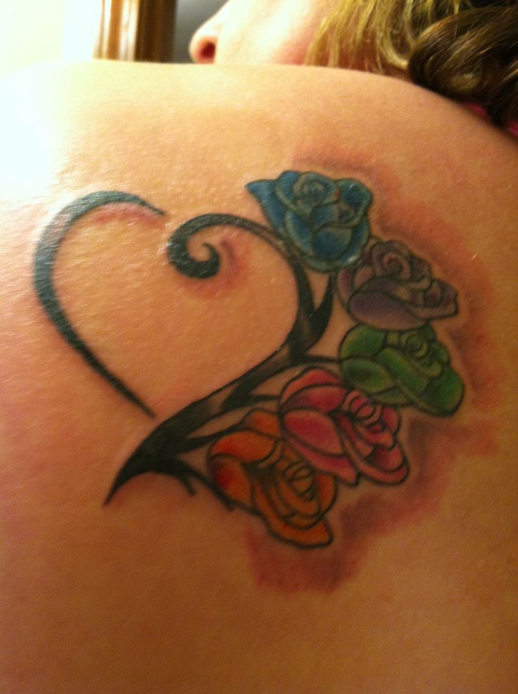 family tattoo - flowers with birthstone colors
