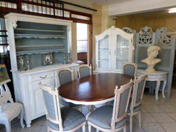 Love this dining area in White with a hint of blue