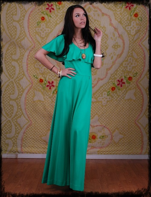 Groovy green 70's maxi dress : Maxi Dresses, 70 S Maxi, 70S Maxi