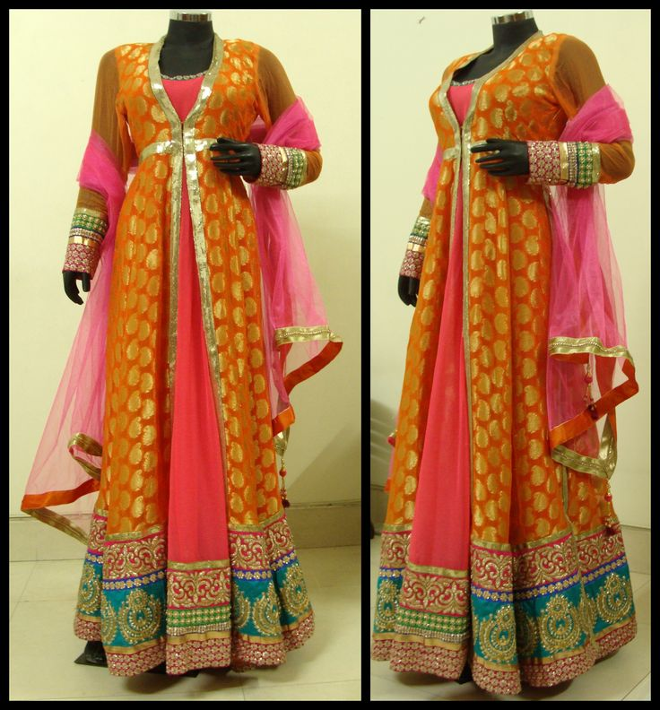 Orange and Pink anarkali dress with bottom borders to make you look tall.