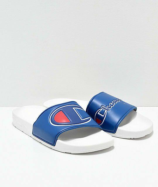0b239494c Champion Men s IPO White   Royal Kids Slides Sz 3Y  fashion  clothing  shoes