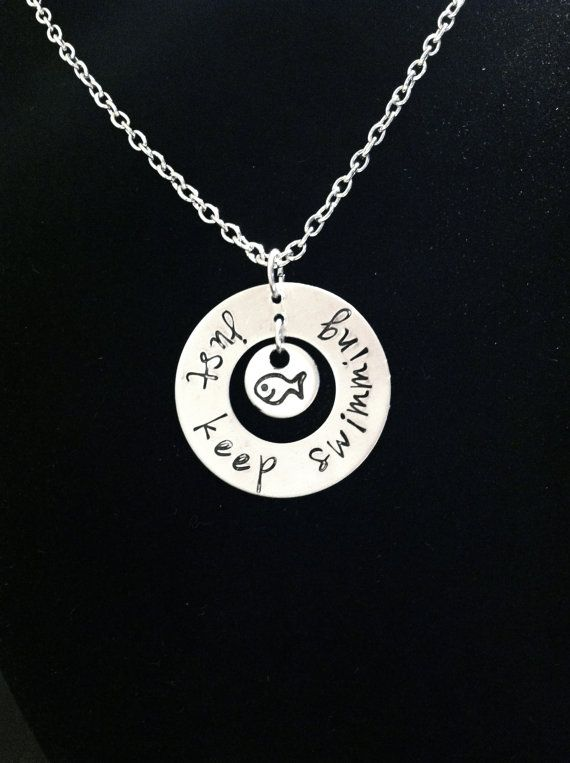 Just Keep Swimming Necklace by byAmandaJane on Etsy