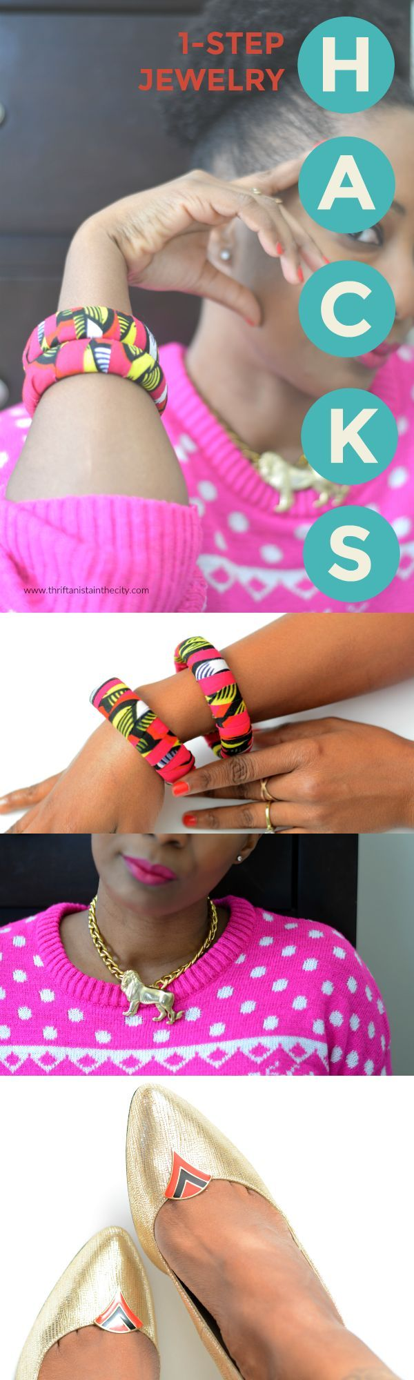 Simple hacks to update, refashion and repurpose old thrift store jewelry.  Make colorful diy african fabric bracelets. Add vintage pins to a chain for a fab statement necklace. Use clip-on earrings to embellish shoes. DIY jewelry