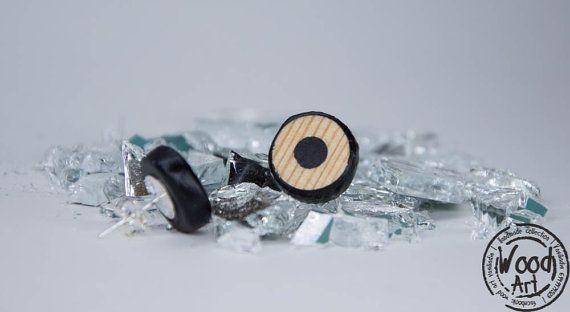 Black Stud Earrings Black Post Earrings Post by TheWoodArtShop