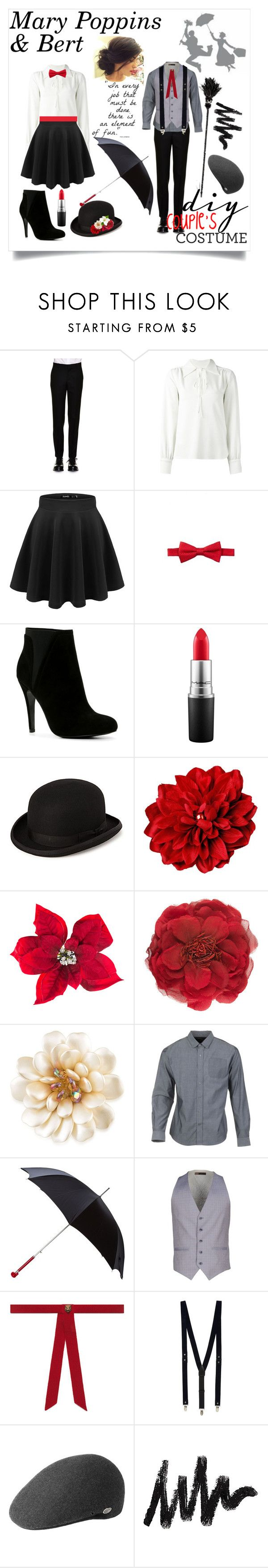 """""""DIY Couple's Costume: Mary Poppins & Bert"""" by addirose18 ❤ liked on Polyvore featuring Alexander McQueen, See by Chloé, Nordstrom Rack, ALDO, MAC Cosmetics, Amara, Gucci, Carolee, Parker Dusseau and Topman"""