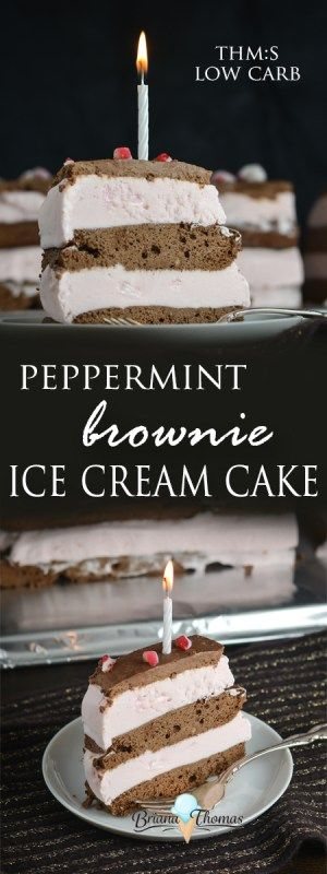 This Peppermint Brownie Ice Cream Cake was my 21st birthday cake!  It's THM:S, low carb, sugar free, and gluten/nut free.  Perfect for any holiday occasion!