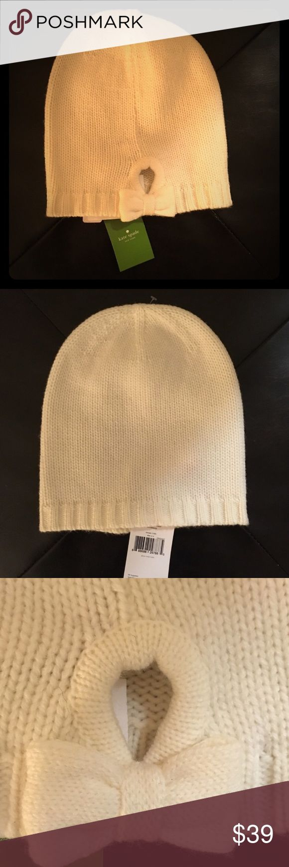 🎀NEW Kate Spade Bow cream beanie hat New with tag. Kate Spade 70% Acrylic 30% Wool Beanie style, Rib Trim and a backside keyhole and Bow detail. Color: cream.    🛍BUNDLE=SAVE  🚫TRADE  💯Authentic   🖲USE BLUE OFFER BUTTON TO NEGOTIATE   ✔️Ask Questions Not Answered in Description--Want You to Be Happy! kate spade Accessories Hats