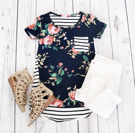 Floral top with stripe print back. Pair with classic white jeans and sandals and you have a cute summer outfit. Stitch Fix Spring/summer fashion inspiration. Try best clothing subscription company. You can use these pins to help your stylist better unders