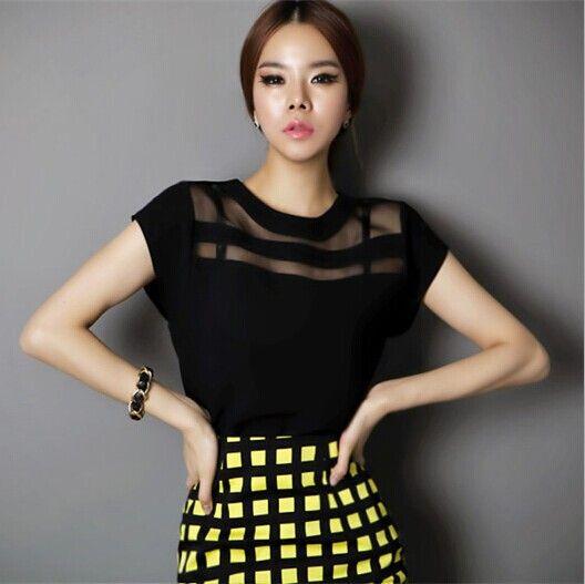 2015 mujeres blusa de verano Styel Ladies Tops gasa escarpada ropa barata China femenina del cuerpo ropa de moda para mujer Blusas(China (Mainland))