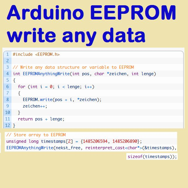 arduino eeprom write any data structure or variable eeprom write read