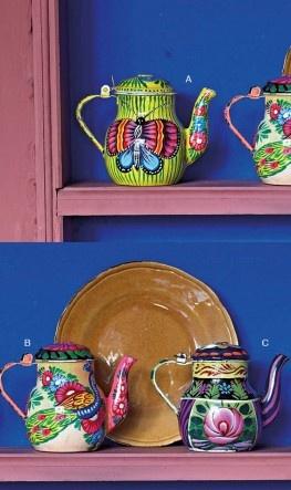 vintage tea pots: Tea Time, Artsy Teapots, Teapots Vintage, Vintage Teapots, Colorful Teapots, China Teapots, I 3Teapots, Tea Pots, Enamel Teapots