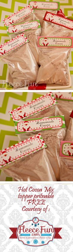 (FREE) Christmas Printable for Hot Chocolate. This free Christmas printable for Hot Chocolate is a great way to deliver lots of fun little treats quickly. Make a few bag, toss them into a dollar store mug and wrap it in cellophane and you have a beautiful Christmas gift!