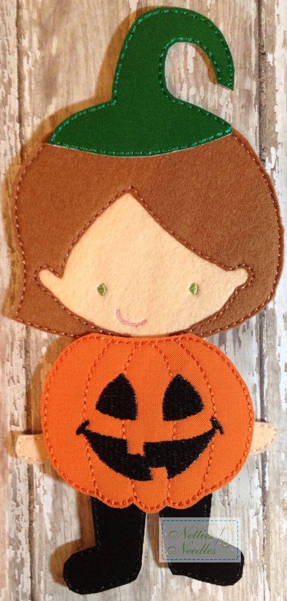 Pumpkin Girl Felt Doll Girl Pumpkin Outfit by NettiesNeedlesToo, $6.00