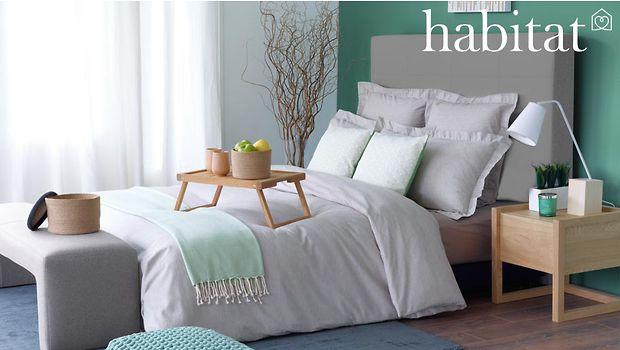 chambre zen habitat plaid mint chambre grise et vert d 39 eau d coration int rieur chambre pur e. Black Bedroom Furniture Sets. Home Design Ideas