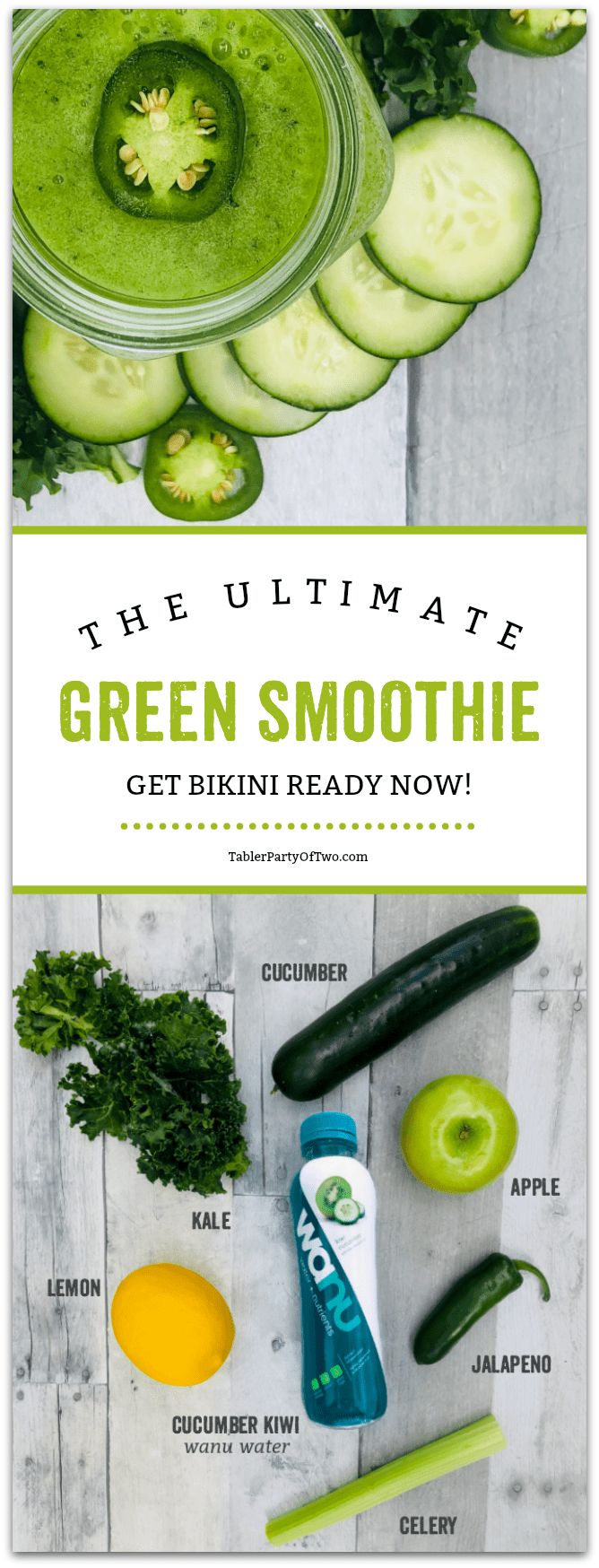 Ready to get BIKINI READY? Start your day with this delicious, nutrient-dense green smoothie and you'll be ready in no time! This smoothies is chock full of vitamins, fiber and antioxidants. And it's SO DELISH! #ad TablerPartyofTwo.com
