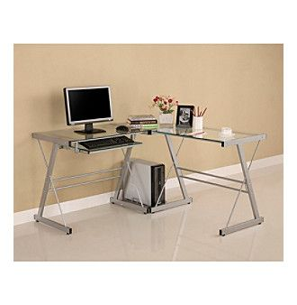 W.Designs Soreno L-Shaped Silver Glass and Metal Computer Desk