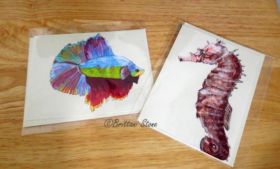 Hand-drawn Aquatic Animal Greeting Card Pack
