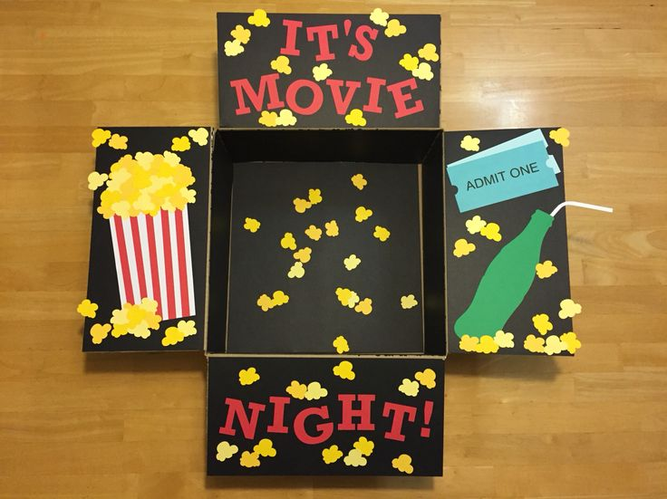 """It's Movie Night!"" Care Package. A care package for my airman full of popcorn, movies and all of our favorite movie snacks."