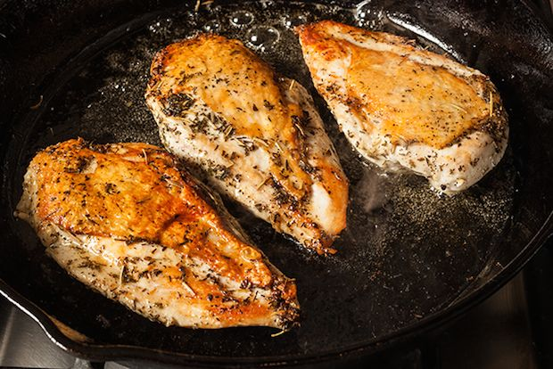PROTEIN MEAL: Perfectly seared chicken breasts, served with a heap of neutral salad or veg.