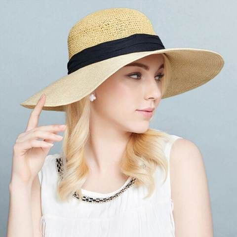 Fashion khaki wide brim sun hat for women UV bow floppy straw hats package