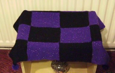 Sparkly, purple and black pompom table top cover  Kimberley xx