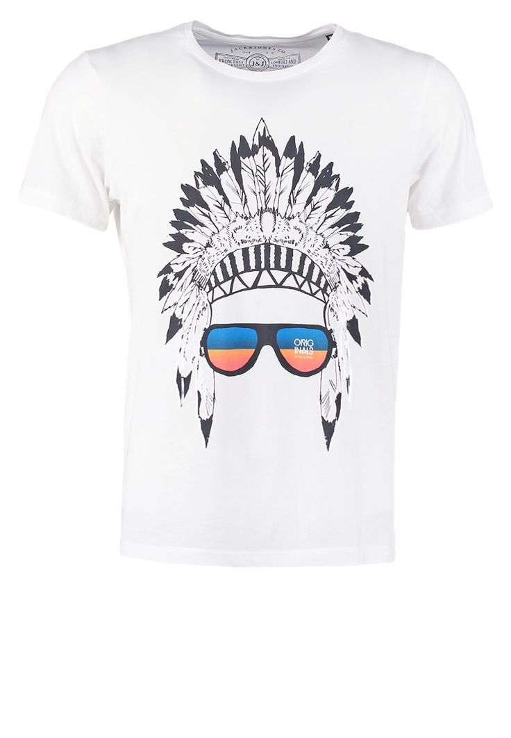 Jack & Jones JJORNEW SLIM FIT Tshirt z nadrukiem cloud dancer