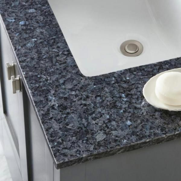 Home Decorators Collection 61 In W Granite Double Sink Vanity Top In Blue Pearl With White Trough Sinks 64905 The Home Depot In 2020 Blue Granite Countertops Gray Quartz Countertops Grey Granite Countertops