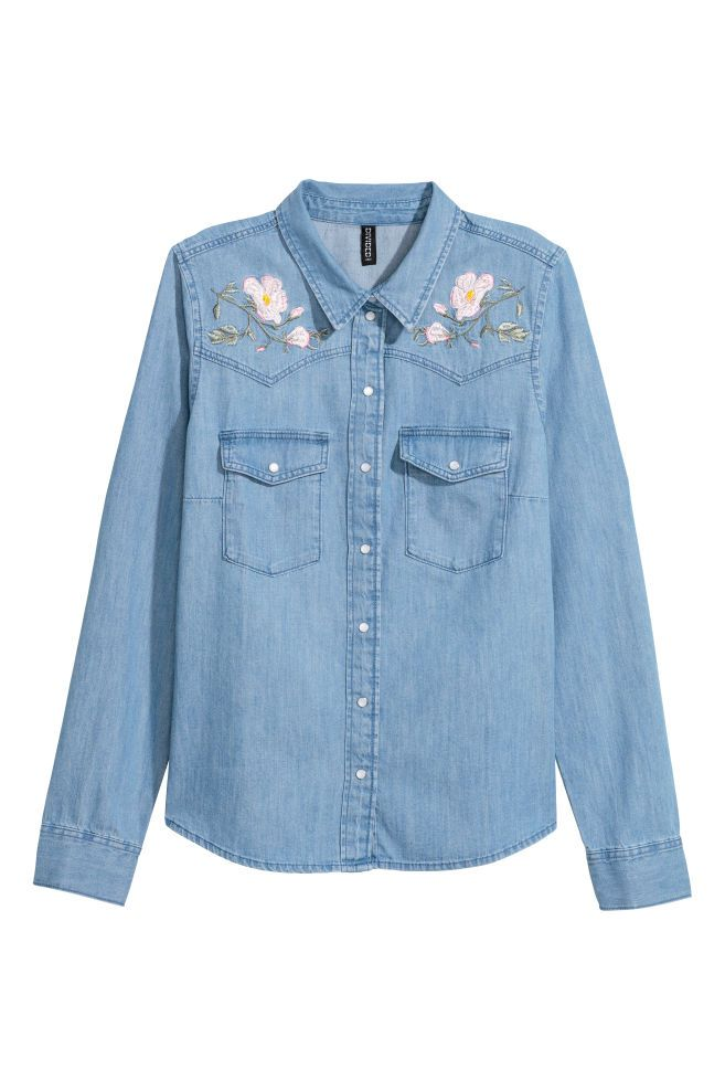 Embroidered denim shirt - Denim blue/Flowers - Ladies | H&M GB 2