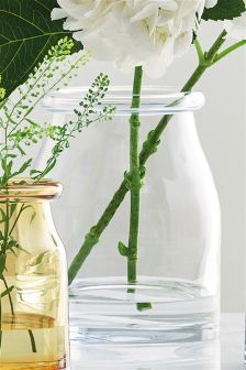 Large Roll Top Glass Vase