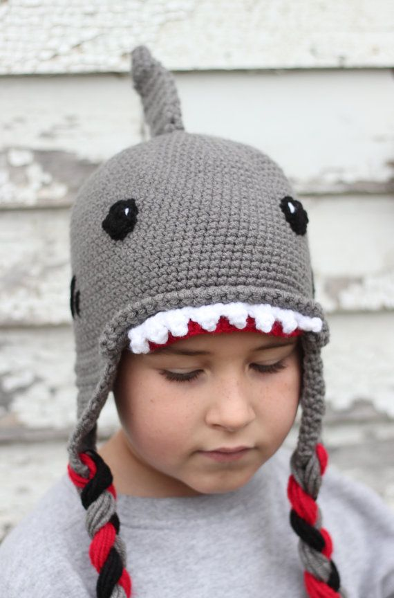 Shark Hat/ Boys Winter Hat/ Boys Hat/ Winter Hat/ Crocheted