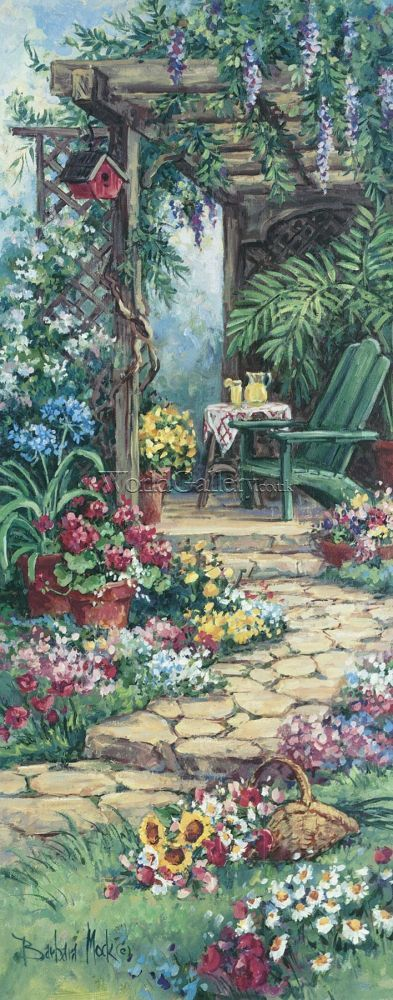 barbara Mock art | Garden Hideaway by Barbara Mock Art Print - WorldGallery.co.uk
