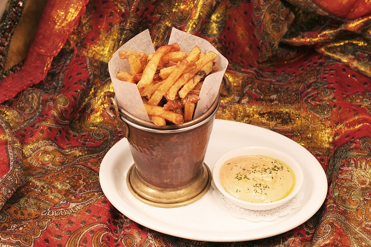 Moroc Frites!  These are addictive!  Fresh Cut French Fries seasoned with a mix of Moroccan Spices & served with our homemade Chipotle Sauce!  http://www.thesultanstent.com
