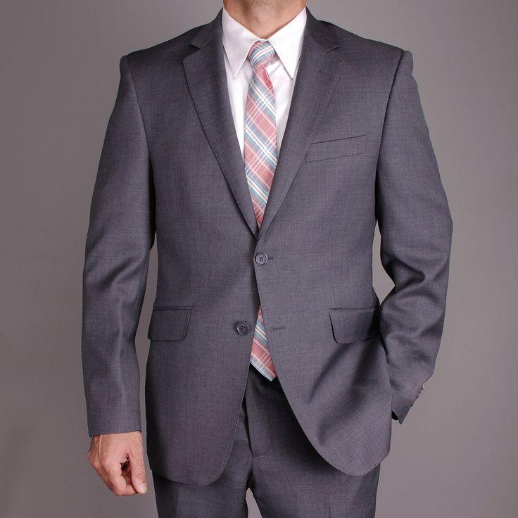 Men's Charcoal Gray Slim-fit 2-button Suit