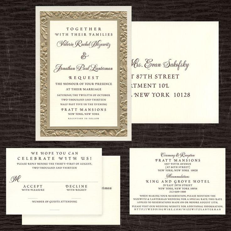 Four Layer Wedding Invitation, Metallic Ivory Linen Paper, Raised Flower  Textured Gold Paper,