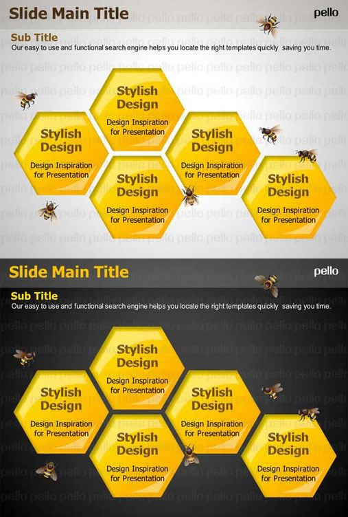 Let your presentation pack a punch with this Beehive-themed Powerpoint Template. Available in light and dark backgrounds.