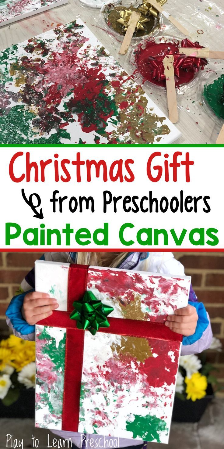 Christmas painted canvas gift from preschoolers