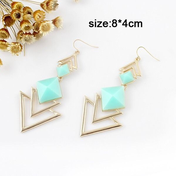Aqua & Gold Gemstone Triangle Drop Earrings, Women's Fashion Accessories