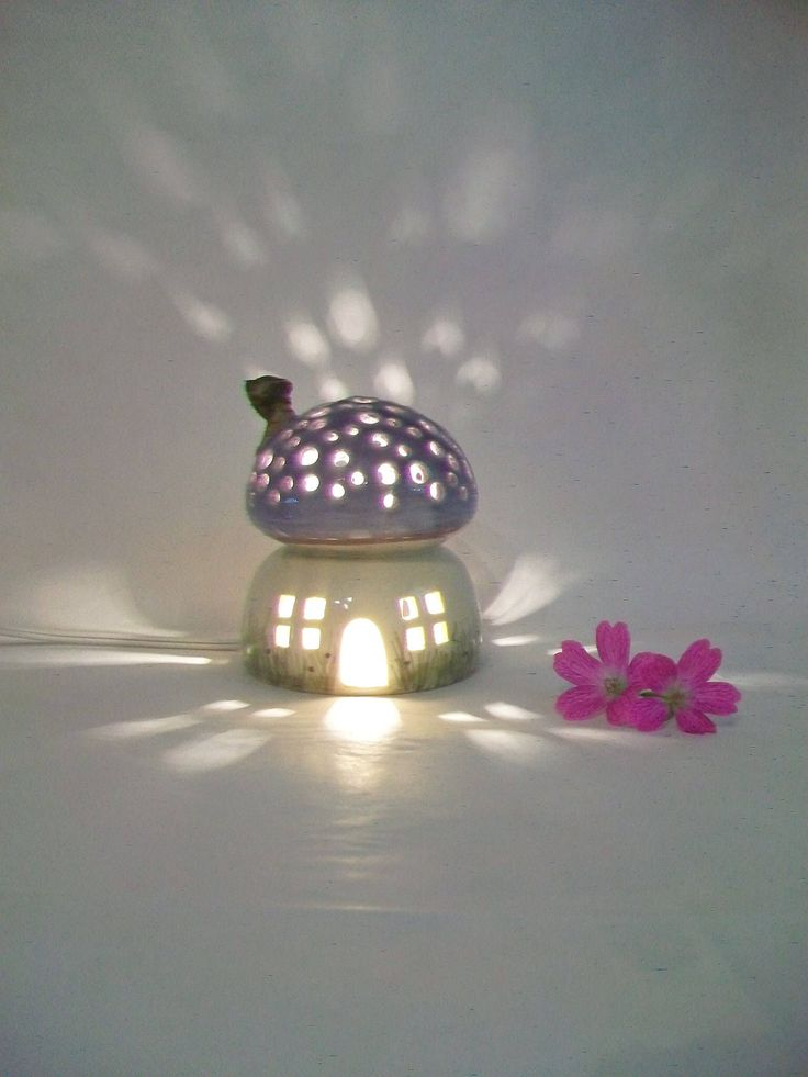Night Light/ Fairy House -Purple Roof, Mushroom with Starry Sky - Hand Painted - Ready to Ship - Childrens Lamp / Nursery Light by SuzannesPotteryFarm on Etsy https://www.etsy.com/uk/listing/532365631/night-light-fairy-house-purple-roof