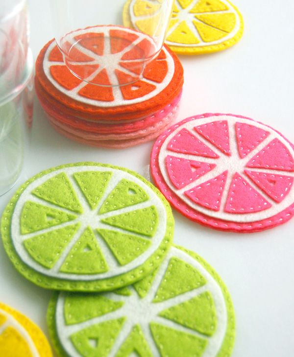 fruit coasters: Sewing, Idea, Diy'S Coasters, Crafty, Citrus Coasters, Summer Party, Diy'S Gifts, Felt Coasters, Crafts