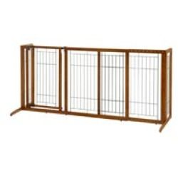 Richell Deluxe Freestanding Pet Gate with Door - Wooden Dog Gate & Pet GatesKeep your dog safe and secure with the Richell Deluxe Freestanding Pet Gate with Door. This sturdy wooden dog gate features an adjustable width to suit a variety of room openings. The locking door lets you pass between rooms while keeping pets in place. The hardwood frame is sturdy and will look great in your home. Freestanding pet gates give you flexibility with setting up and moving the gate as you need. The…