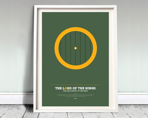 "The Fellowship of The Ring - Lord of The Rings Poster: 12x16"" (A3) LOTR print, poster, movie poster, gollum, LOTR, minimal, hobbit, geeky"