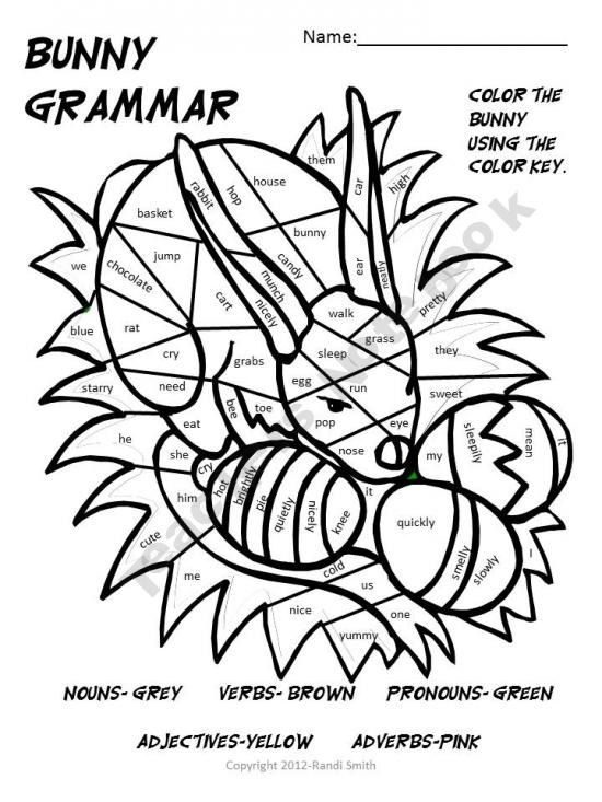 Parts of Speech coloring page nouns verbs adjectives