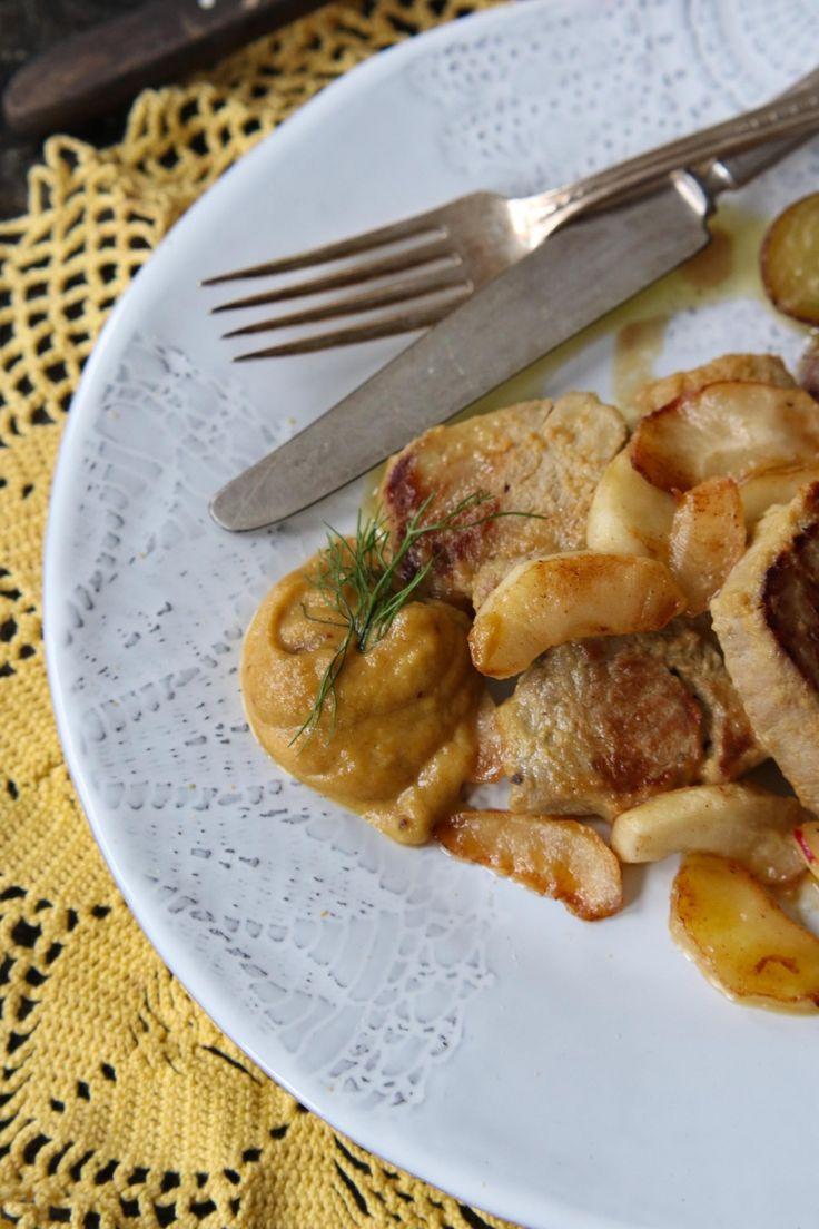 filetto di maiale  con mele in marinata di senape, sciroppo d'acero e aceto di mele